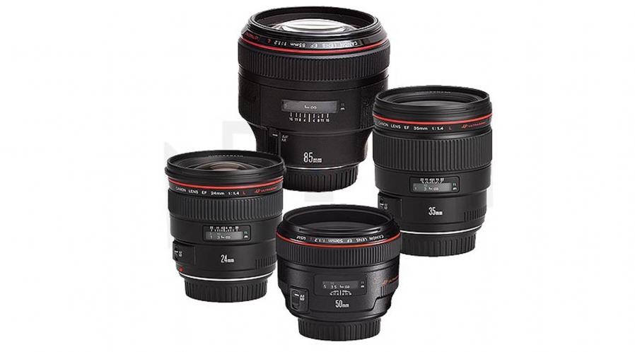 Kit 4 objectifs fixe Canon EF F:1.2 à F:1.8 (28, 35, 50, 85mm)